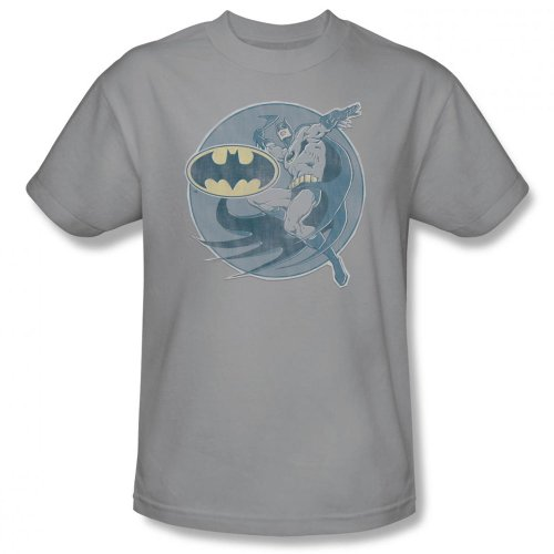 Batman+Retro+Shirts Products : Dc Comics - Mens Retro Batman Iron On T-Shirt In Silver