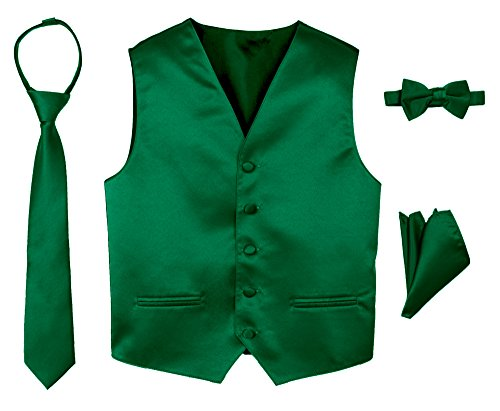 Spring Notion Boys' 4-Piece Satin Tuxedo Vest Set 3T Emerald