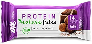 New Optimum Nutrition Nature Bites, Decadent Protein Snack, Vegan Snack, Gluten Free, GMO Free, Flavor Chocolate Truffle, 9 Count