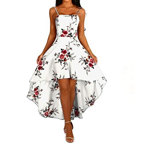 Formal Dress for Wedding,SMALLE◕‿◕ Womens Ruffle High Low Asymmetrical Spaghetti Strap Bodycon Shirt Dress White