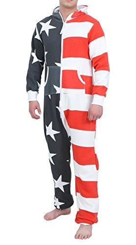 Newfacelook Mens Stylish Printed Onesie Hoody All In One Zip Hoodie Men Jumpsuit