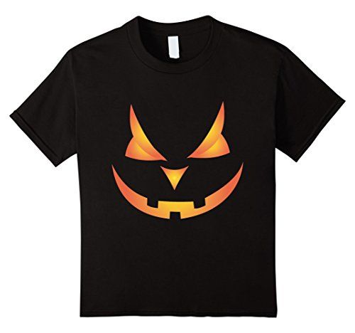 Kids Scary Pumpkin Face Halloween Costume T-Shirt Orange Glow 6 Black