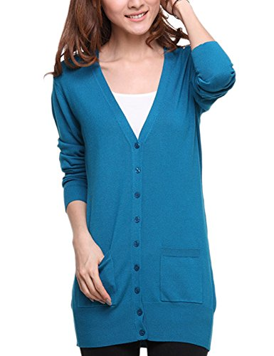 S-7 Women's Thin Button Down Knit Cardigan Sweater (Medium, Dark Blue)