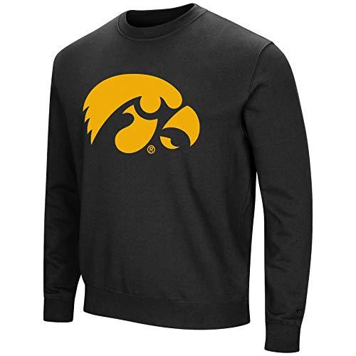 Colosseum NCAA Men's -Playbook- Crewneck Fleece Sweatshirt with Tackle Twill Embroidered Lettering-Iowa Hawkeyes-Black-XL Black Tackle Twill Hoody Sweatshirt