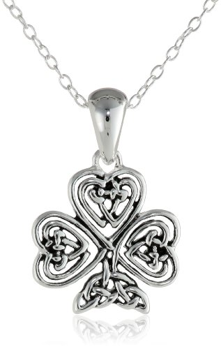 Sterling Silver Small Celtic Clover Pendant Necklace with Rolo Chain, 18""