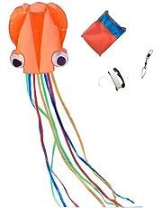 Mayco Bell Pulpo Cometa Nylon y poliéster Material - Juguete Niños Juegos Al Aire Libre Actividades - Plegable Grande 71 x 400 cm | Extra de 100 Metros De Línea (Naranja)
