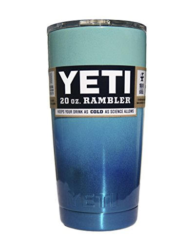 Custom YETI Coolers Powder Coated Insulated Stainless Steel 20 Ounce (20 oz) (20oz) Rambler Tumbler Travel Cup Mug with Lid (Seafoam Blue Metallic Ombre)