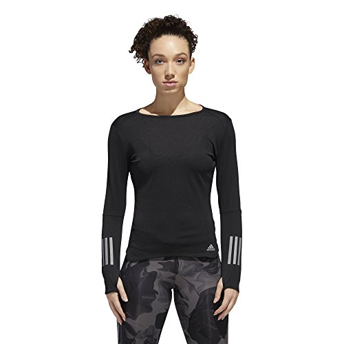 adidas Women's Running Response Long Sleeve Tee, Black, ()