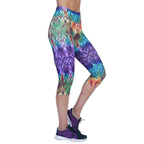 OVERMAL Capri Leggings 2018 Women Yoga High Waist Fitness Yoga Sport Pants Printed Stretch Cropped Leggings (XL, SW113)