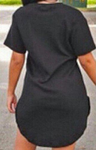 Maglietta Fit Partito Manica Vestito In Nere Casuale Corta Cotone Bodycon donne Club Da Della Bltr Sottile B0XTqw