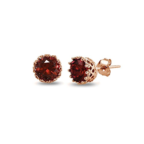 Garnet Rose Jewelry Set (Rose Gold Flashed Sterling Silver Garnet Crown Stud Earrings)