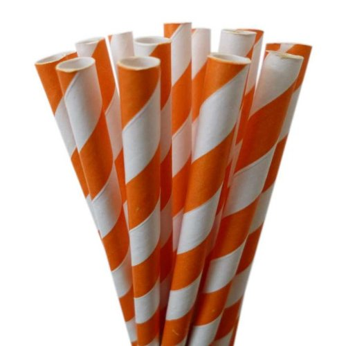 Candy Cane Striped Paper Straws -Orange and white, 50 Count