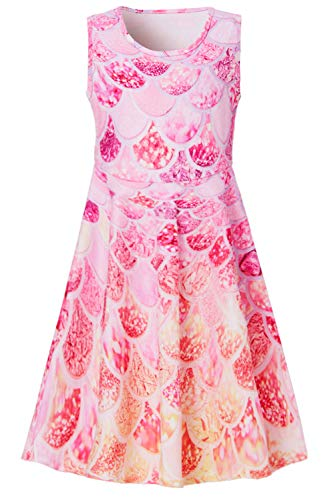 Funnycokid Girls Sleeveless Summer Casual Dress Kids Holiday Party Dresses 6 to 7 Years