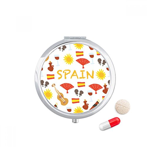 Spain Flamenco Music Food Travel Pocket Pill case Medicine Drug Storage Box Dispenser Mirror Gift by DIYthinker