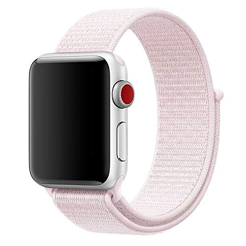 - SMEECO Smart Watch 42mm 44mm Sports Loop Band,Soft Breathable Nylon Adjustable Wrist Strap Replacement for Sports Watch Series 1, Series 2, Series 3, Series 4(42mm 44mm Pearl Pink)