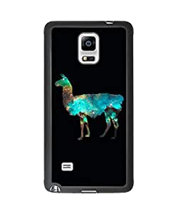 Cute Alpaca Llama Samsung Galaxy Note 4 Plastic and TPU Durable Phone Case Cover(Laser Technology)