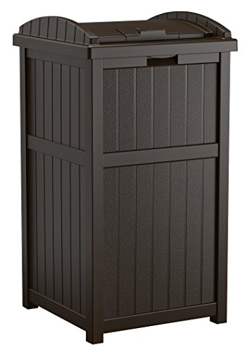 - Suncast 33 Gallon Outdoor Trash Can for Patio - Resin Outdoor Trash Hideaway with Lid - Use in Backyard, Deck, or Patio - Brown
