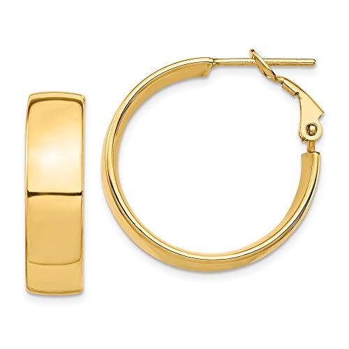 14k Yellow Gold High Polished 7mm Omega Back Hoop Earrings