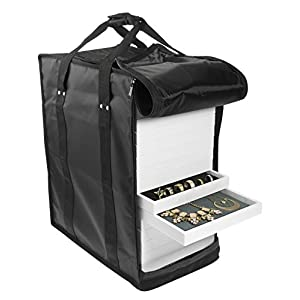 "SE JT917TCB Jewelry Carrying Case Holds Seventeen 1"" Trays (Black)"