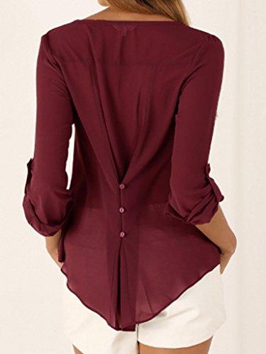Shirt V Large Ru Xiang Chemise Blouse Couleur Manches Uni Femme Col Bordeaux T Longues U8qU6