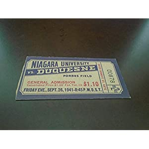 1941 NIAGARA AT DUQUESNE COLLEGE FOOTBALL TICKET STUB FORBES FIELD EX MINT