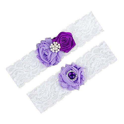 (Oyeahbridal White Bride Wedding Garter Belt Set Lace Vintage Prom Bridal Garters)