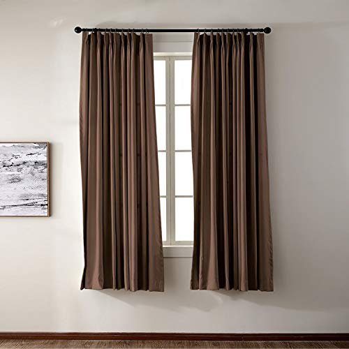 Macochico Chocolate Outdoor Indoor Watre Resistant Curtains for Library Hotel Classroom Kids Room Thermal Insulated Light Proof Anti-Noise Home Decoration Pinch Pleat Drape 84W x 102L (1 Panel) by Macochico (Image #3)