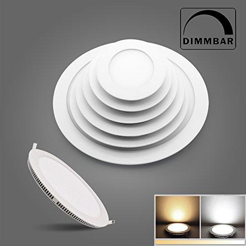 BAODE 6/9/12/15/18/24W LED Panel Leuchte Dimmbar Deckenlampe Rund Ultraslim Einbaustrahler (9W/130mm Warmweiss Dimmbar)