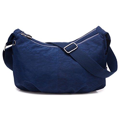 tianhengyi Mujer Estilo Sencillo Dumpling Forma Bolsa De Hombro Bandolera de Nailon Ligero Messenger Bag Azul marino