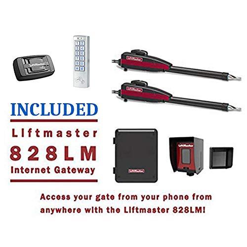 Liftmaster LA400PKGU Dual Swing Gate Opener Kit - Included Liftmaster 828LM Internet Gateway & Weatherproof Keypad Prox Reader 1,000 Users