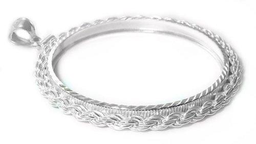 Sterling Silver US Quarter Diamond Cut Rope Coin Bezel Frame Mount 24.10mm x 1.70mm