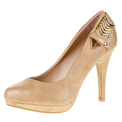 Super Me Mujer Guantes, Pumps, Plateau High Heels, 8378, sintéticos en aspecto de piel de alta calidad dorado - Gold 8378