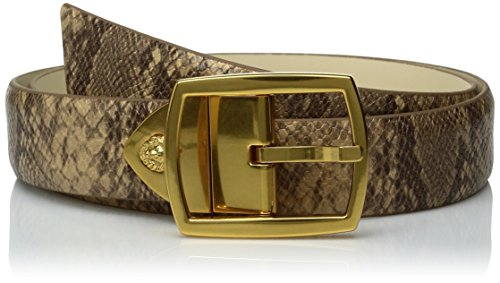 Ak Anne Klein Women's Anne Klien 30mm Reversible Python Printed Belt, Natural/Birch, L (Anne Klein Leather Belt)