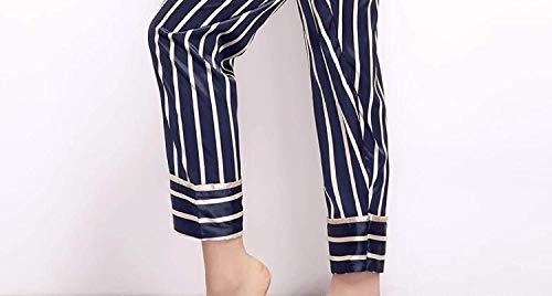 Rayas Mujer Primavera Un Albornoz Camisones Hogar Pijamas Largo Moda Manga Pecho Para Conjunto Elegantes Marca Pantalones Pijama De Clásico Ropa Simplemente Azul Verticales Solo El Otoño Mode S1r7w1q0z