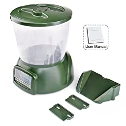 Fmjj Green Automatic Digital Fish Food Feeder Programmable 4 Timer Feeding Dispenser with LCD Display and Mounting Hardware For Aquarium Tank Pond Home Office