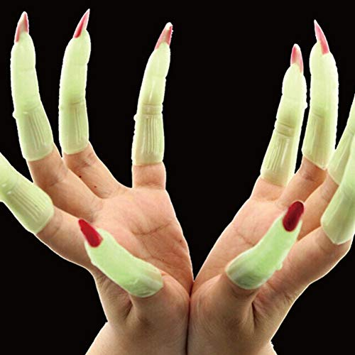 Costume Party - Arrived Halloween Finger Zombie Witch Costume Party Props Luminous False Nail Sets Scary Costumes - Prizes Dresses Supplies Women Costumes Kids Boys Invite Girls Costume Game -