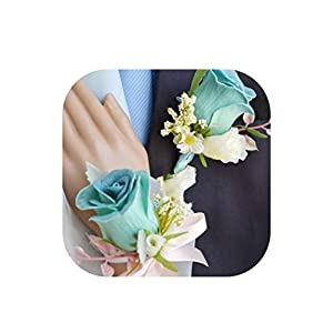 Blue Pink Pu Rose 2 Color Man Groom Boutonniere Bride Bridal Girl Wrist Hand Corsage DIY Party Prom Pin Brooch Wedding Flower 65