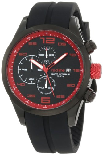 red line Men's 50042-BB-01RD Stealth Chronograph Black Silicone Watch (Red Line Chronograph compare prices)