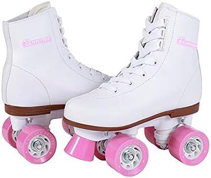 White Youth Quad Skates Size 4 Chicago Girls Rink Roller Skate