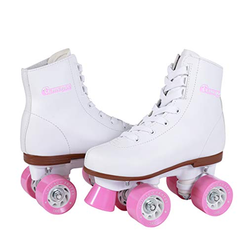 Chicago Girl's Classic Roller Skates – White Rink Quad Skates - Size Youth 4