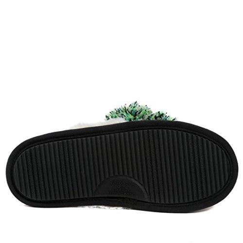 Foot Petals Fair Isle Knit Pom Pom Slipper 573-149 Black
