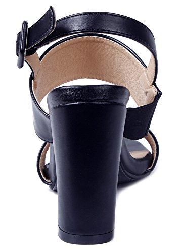 Sandales Bout Slingback Cheville Ouvert Heels Bloc Noir Shoes Ageemi Femmes xEwtn1qq70