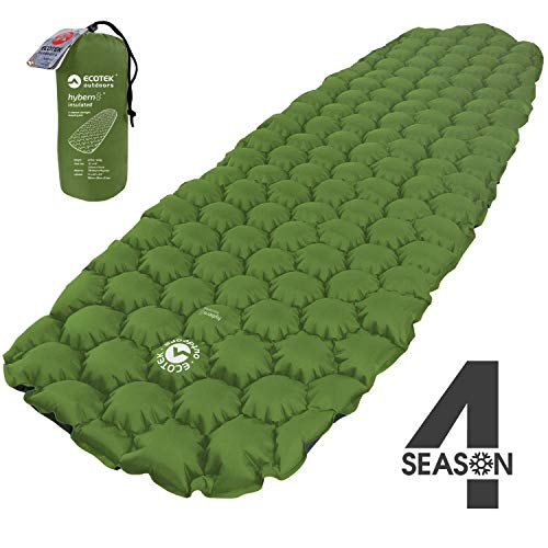 ECOTEK Outdoors Insulated Hybern8 4 Season Ultralight Inflatable Sleeping Pad for Hiking Backpacking and Camping - Contoured FlexCell Design - Perfect for Sleeping Bags and Hammocks (Evergreen)