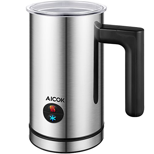 Aicok Automatic Milk Frother, Milk Steamer, Stainless Steel Electric Milk Frother and Warmer, Non-Stick Coating, for Latte, Cappuccino, Replace a New one Free of Charge within 2 Years