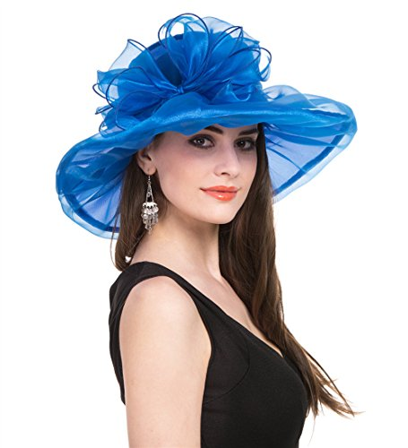 - SAFERIN Women's Organza Church Kentucky Derby Fascinator Bridal Tea Party Wedding Hat (Blue with Bowknot)