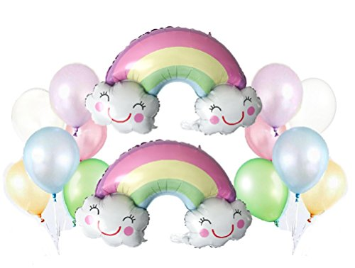 Party Balloon Pack: 2 PK Foil Pastel Rainbow Balloons + 12 ct - Assorted Pastel Latex Balloons | Includes: Curling Ribbons, Balloon Clips | Party (Rainbow Pastel)
