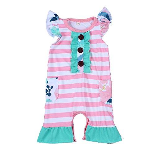 Yawoo Infant Girls Flutter Sleeve Jumpsuit Newborn Baby Summer Romper 3-6M