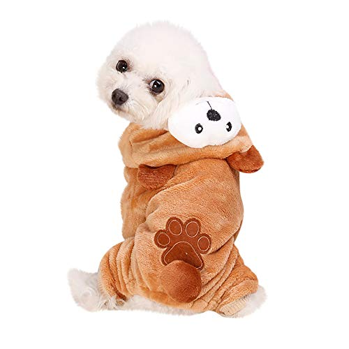 Pet Clothes Dog Cat Cute Pig Brown Bear Elephant Koalas Transfiguration Coat Dress Up Warm Dog Apparel Jacket Small Pet Clothes Sweatshirt Pig Sweater Dog Winter Outfits Doggy Costume (Coffee, M)