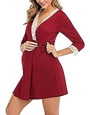 Women's Maternity Dress Nursing Nightgown Middle Sleeve Lace Sleepwear Breastfeeding Dress