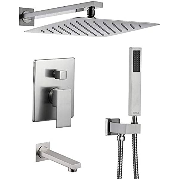 Esnbia Tub Shower Faucet Set Shower System With Tub Spout And 10 Inch Rain Shower Head Wall Mounted Shower Set Brushed Nickel Contain Shower Faucet Rough In Valve Amazon Com